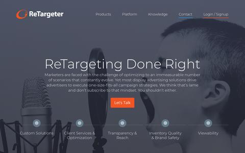 Screenshot of Home Page retargeter.com - Programmatic Ads | ReTargeting + Prospecting Solutions | ReTargeter - captured April 22, 2018