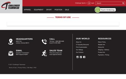 Screenshot of Terms Page challengerteamwear.com - Terms of use - captured July 23, 2017