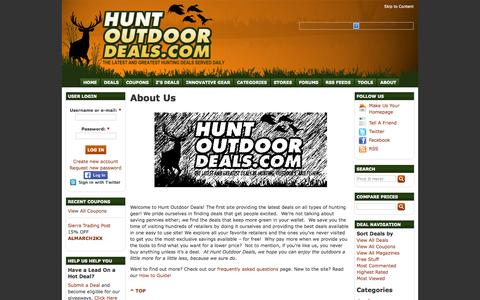 Screenshot of About Page huntoutdoordeals.com - About Us at Hunt Outdoor Deals - captured Sept. 30, 2014