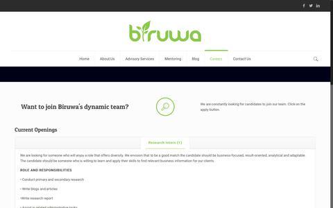 Screenshot of Jobs Page biruwa.net - Careers: Join our team, become a future leader - Biruwa Advisors - captured Oct. 6, 2018