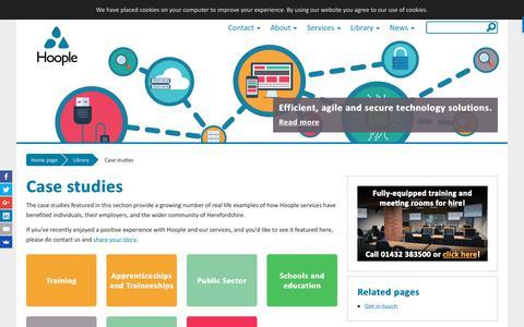 Screenshot of Case Studies Page hoopleltd.co.uk - Case studies - Hoople - captured Sept. 2, 2017
