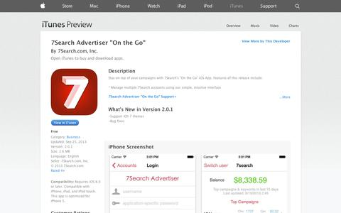 "Screenshot of iOS App Page apple.com - 7Search Advertiser ""On the Go"" on the App Store on iTunes - captured Oct. 27, 2014"