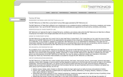 Screenshot of Terms Page raftabtronics.com - RAF Tabtronics LLC - Technology to the global power - captured Oct. 6, 2014
