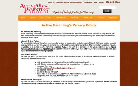 Screenshot of Privacy Page activeparenting.com - Parenting Education | Parenting Resources | Active Parenting Publishers - captured Oct. 4, 2014