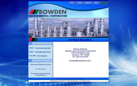 Screenshot of Contact Page bowdenenv.com - Contact BEC - captured Oct. 5, 2014