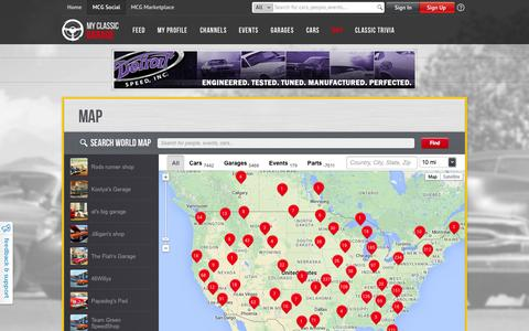 Screenshot of Maps & Directions Page myclassicgarage.com - MyClassicGarage™ | Map - MCG Social™ - captured Oct. 26, 2014
