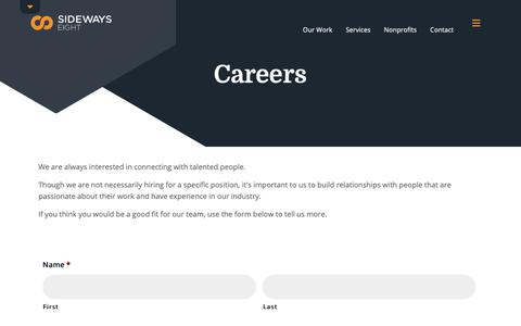 Screenshot of Jobs Page sideways8.com - Sideways8 Careers Area | Sideways8 - captured Oct. 18, 2018