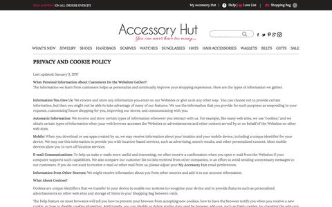 Screenshot of Privacy Page Terms Page accessoryhut.com - Privacy and Cookie Policy - captured May 29, 2017