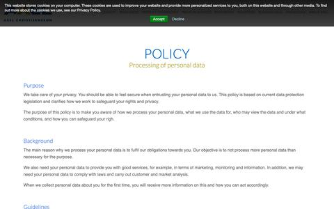Screenshot of Privacy Page axelch.com - Privacy Policy - captured Oct. 4, 2018