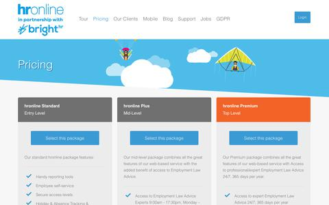 Screenshot of Pricing Page hronline.co.uk - Pricing | Online HR Software & Payroll Software - hronline - captured Sept. 22, 2018