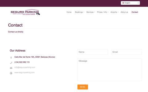 Screenshot of Contact Page seguroparking.com - Contact - captured June 17, 2017