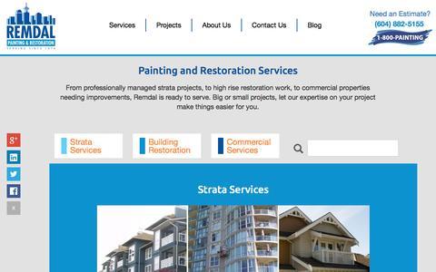 Screenshot of Services Page remdal.com - Painting & Restoration Services Vancouver   Remdal - captured Nov. 30, 2016