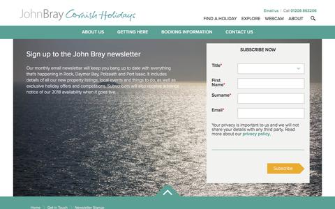 Screenshot of Signup Page johnbraycornishholidays.co.uk - Newsletter Signup | John Bray Cornish Holidays - captured Jan. 29, 2017