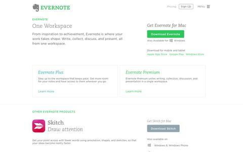 Screenshot of evernote.com - Evernote Products | Evernote - captured June 16, 2015