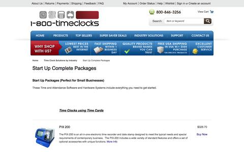Screenshot of Products Page 1800timeclocks.com - Start Up Complete Packages - Time clock solutions - captured June 19, 2017