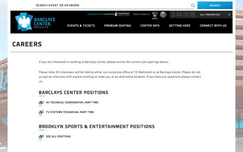 Screenshot of Jobs Page barclayscenter.com - Careers | Barclays Center - captured May 31, 2017