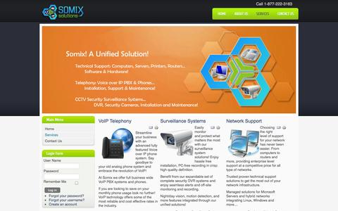 Screenshot of Services Page somixsolutions.com - Somix Solutions Inc. - Services - captured Oct. 7, 2014
