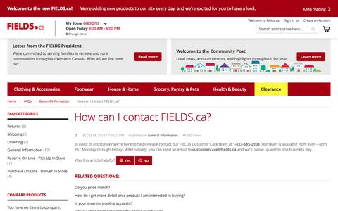 Screenshot of Contact Page fields.ca - How can I contact FIELDS.ca? / FAQs - captured Nov. 14, 2018