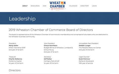Screenshot of Team Page wheatonchamber.com - Leadership - Wheaton Chamber of Commerce - captured Oct. 12, 2019