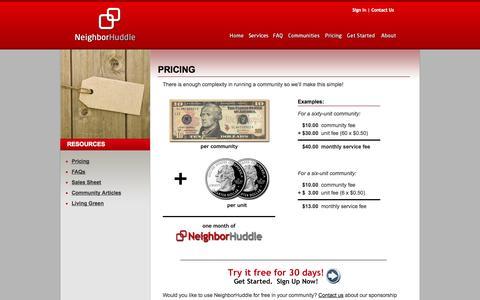 Screenshot of Pricing Page neighborhuddle.com - NeighborHuddle - Pricing - captured Oct. 10, 2014