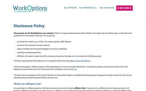 Screenshot of workoptions.com - Disclosure Policy - Work Options - captured Nov. 24, 2017