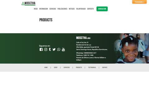 Screenshot of Products Page mosctha.org - Products | Mosctha - captured July 26, 2018