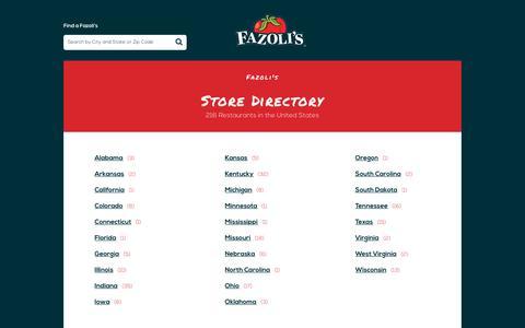 Screenshot of Locations Page fazolis.com - All Fazoli's Locations | Italian Food, Pasta, Pizza - captured Dec. 19, 2018