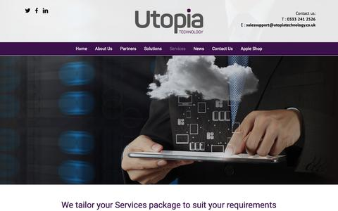 Screenshot of Services Page utopiatechnology.co.uk - Innovative, value-added IT Services provider - captured Nov. 16, 2018