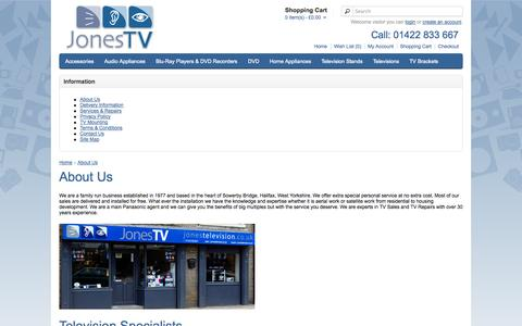 Screenshot of About Page jonestelevision.co.uk - About Us - captured Sept. 30, 2014