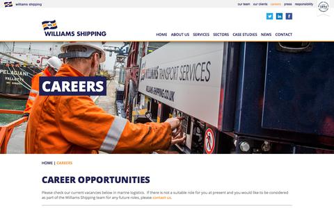 Screenshot of Jobs Page williams-shipping.co.uk - Careers - Marine, Transport & Lubricants | Williams Shipping - captured Nov. 6, 2017