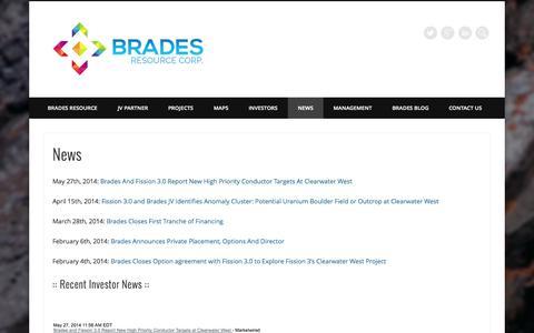 Screenshot of Press Page bradesresource.com - News » Brades Resource Corp. - captured Sept. 30, 2014