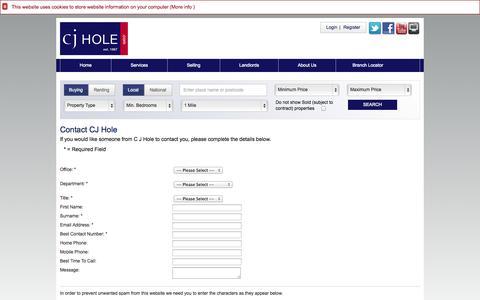 Screenshot of Contact Page cjhole.co.uk - CJ Hole - Contact Us - captured Nov. 1, 2014