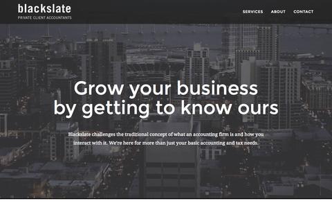 Screenshot of Home Page blackslate.com - Blackslate - Private Client Accountants - captured Jan. 24, 2015