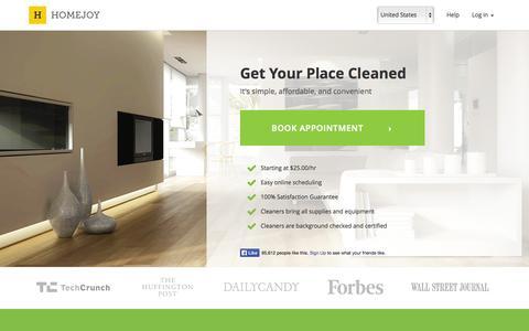Screenshot of Home Page homejoy.com - Homejoy - captured Jan. 15, 2015