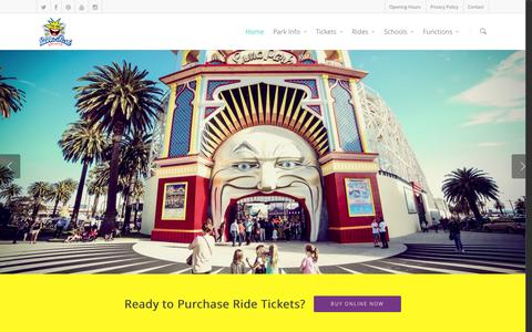 Screenshot of Home Page lunapark.com.au - Home - Luna Park Melbourne - captured Oct. 3, 2014