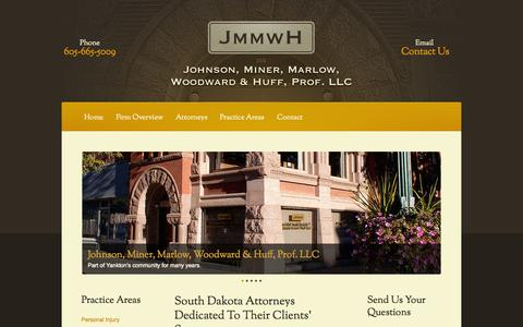 Screenshot of Home Page jmmwh.com - Yankton Personal Injury Lawyers | Sioux Falls Estate Planning Attorney | Vermillion SD Business Law - captured Oct. 6, 2014