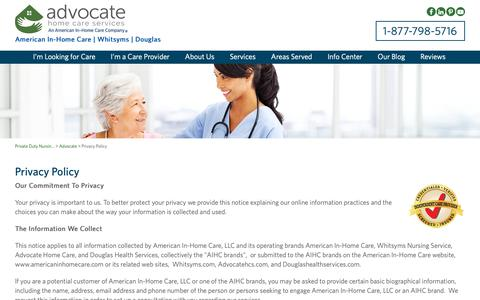 Screenshot of Privacy Page advocatehcs.com - Private Home Healthcare Agencies, Live In Elderly Care - American In-Home Care - captured Oct. 3, 2018