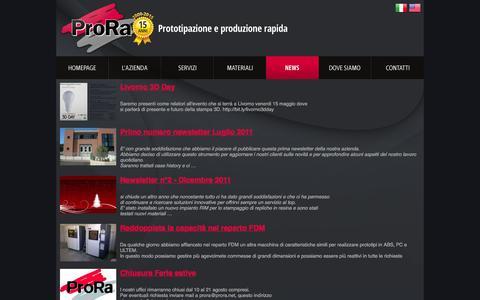 Screenshot of Press Page prora.net - News - ProRa - Prototipazione rapida firenze toscana - captured Feb. 1, 2016