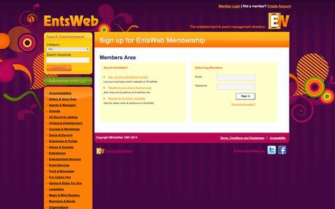 Screenshot of Login Page entsweb.ltd.uk - Advertising on EntsWeb - captured Sept. 18, 2014
