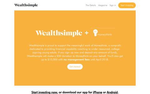 Wealthsimple + Moneythink | Wealthsimple