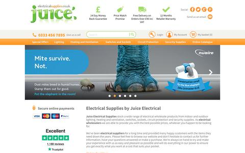 Screenshot of Home Page juiceelectricalsupplies.co.uk - Electrical Wholesalers and Suppliers | Juice Electrical Supplies - captured Sept. 20, 2018