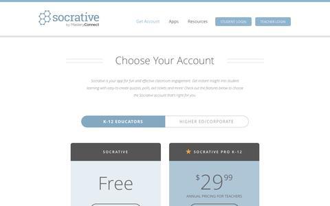 Screenshot of Pricing Page socrative.com - Socrative - captured Feb. 24, 2017