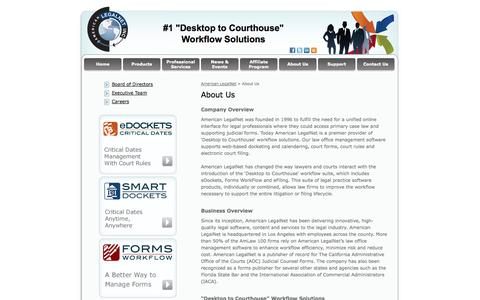Screenshot of About Page alncorp.com - Software For Law Firms, Legal Office Software, American LegalNet - captured Oct. 3, 2014