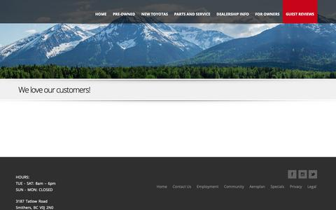 Screenshot of Testimonials Page glaciertoyota.ca - Testimonials  |  Glacier Toyota | Sales, Service and Parts in Smithers, BC and the Bulkley Valley - captured Dec. 8, 2018