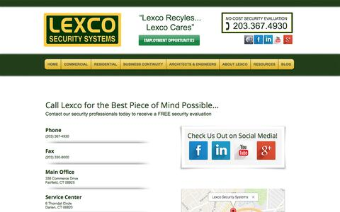 Screenshot of Contact Page Locations Page lexcosecurity.com - Contact Lexco - captured Nov. 7, 2016