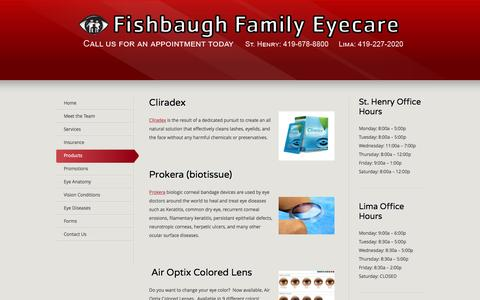 Screenshot of Products Page fishbaughfamilyeyecare.com - Our Products   Fishbaugh Family Eyecare - captured Jan. 8, 2016
