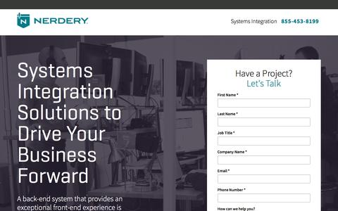 Screenshot of Landing Page nerdery.com - Systems Integration at The Nerdery | Nerdery - captured Sept. 2, 2017