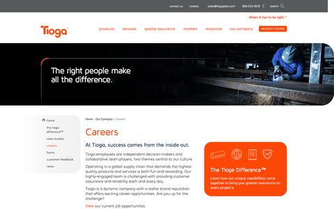 Screenshot of Jobs Page tiogapipe.com - Tioga Pipe - Careers - Job Opportunities - captured Oct. 9, 2014