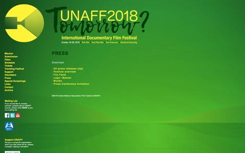 Screenshot of Press Page unaff.org - UNAFF 2018: Press - captured Oct. 1, 2018
