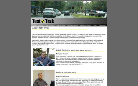 Screenshot of About Page test-trak.com - About Test Trak Vehicle Testing - captured Feb. 25, 2016